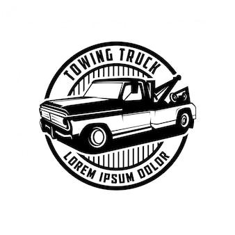 Création de logo d'étiquette vintage de camion de remorquage automobile