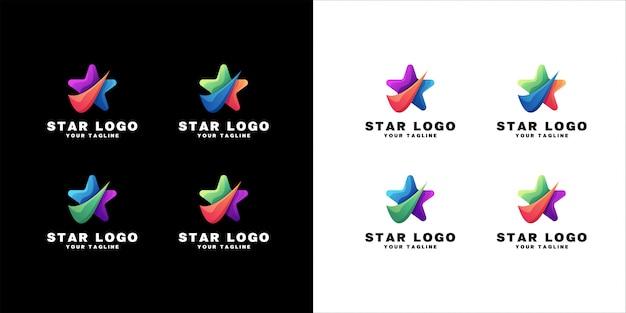 Création de logo étoile sur fond blanc et noir