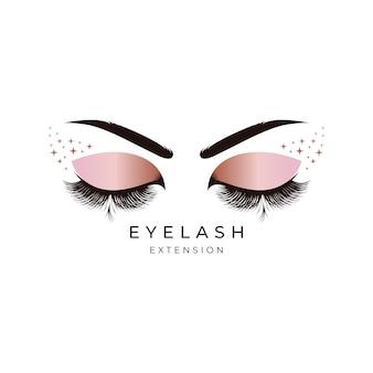 Création de logo d'extension de cils de beauté de luxe
