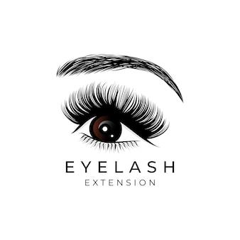 Création De Logo D'extension De Cils De Beauté De Luxe Vecteur Premium