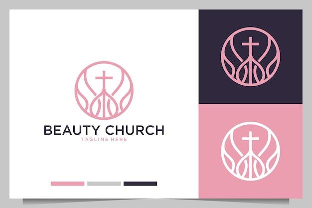 Création de logo féminin d'art de ligne d'église de beauté