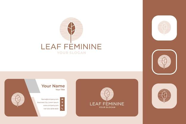 Création de logo féminin feuille et carte de visite