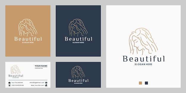 Création de logo de femme de beauté pour salon spa avec couleur dorée