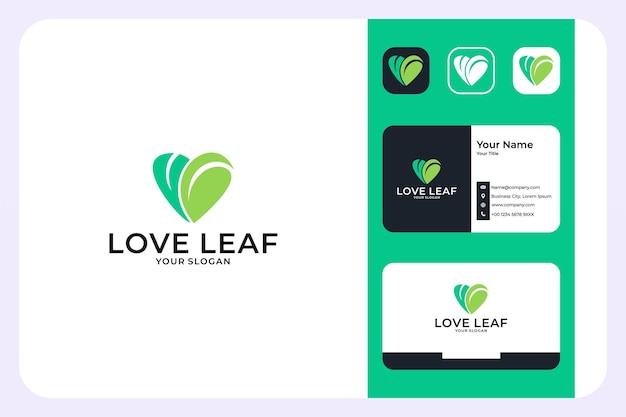Création de logo de feuille d'amour vert et carte de visite