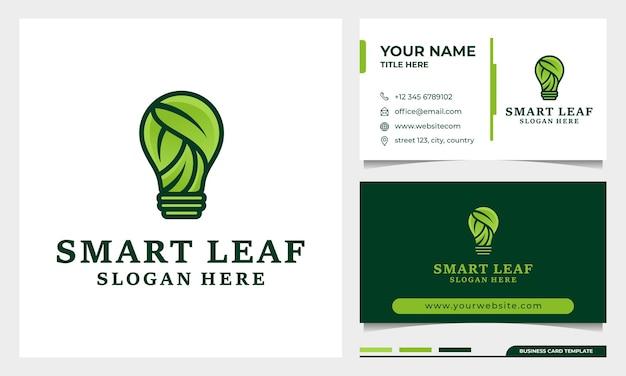 Création de logo feuille et ampoule nature abstraite avec modèle de carte de visite