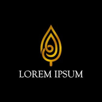 Création de logo feuille d'or de luxe avec style de trait