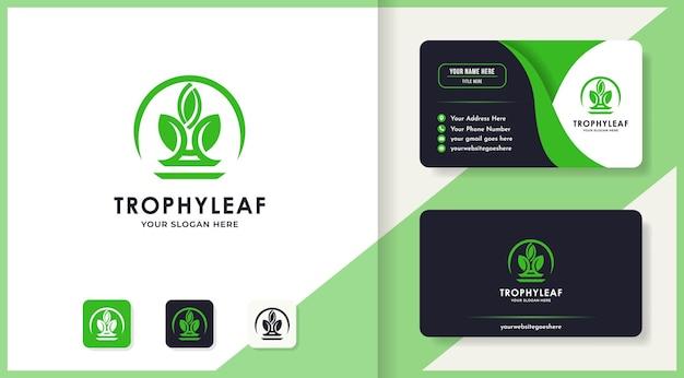 Création de logo de feuille de trophée et carte de visite