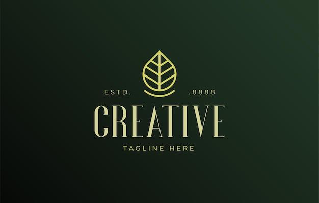 Création de logo de feuille vecteur d'icône d'une goutte d'eau qui est également similaire à une feuille d'arbre