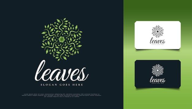 Création de logo de feuille verte circulaire, adaptée à l'identité de produit de spa, de beauté, de fleuriste, de villégiature ou de cosmétique