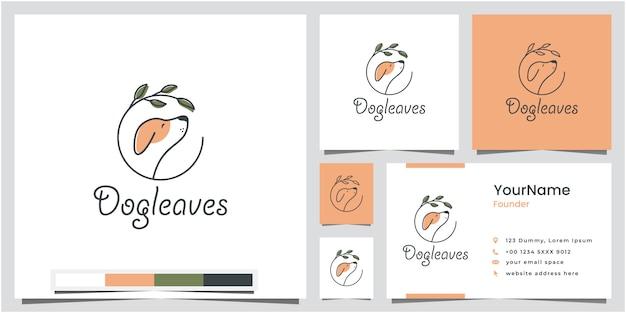 Création de logo de feuilles de chien avec carte de visite