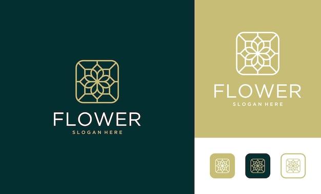 Création de logo de fleur d'art de ligne de luxe