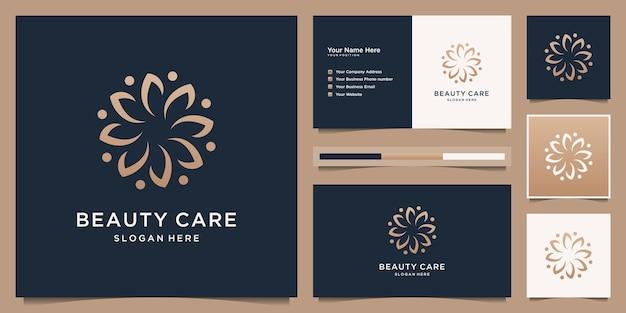 Création de logo de fleur de beauté féminine avec concept abstrait de cercle de feuilles de luxe