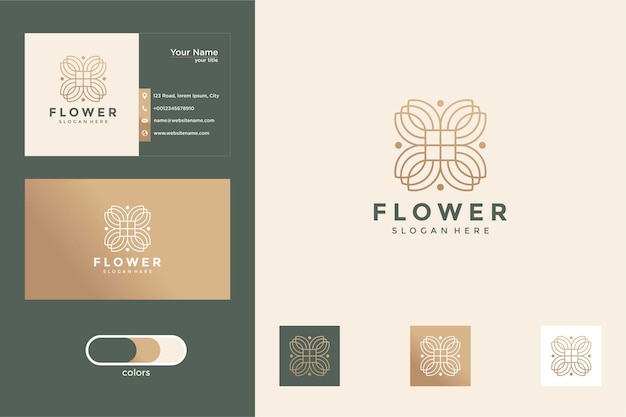 Création de logo de fleur de beauté de luxe et carte de visite