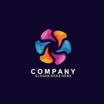 Création de logo de fleur colorée moderne