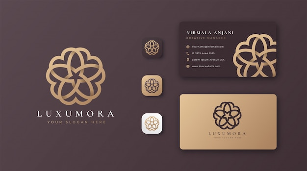 Création de logo de fleur dorée abstraite de luxe avec carte de visite