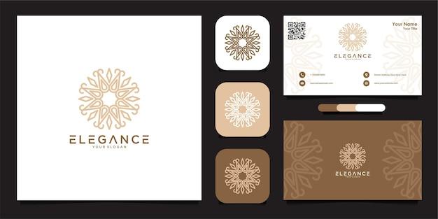 Création de logo de fleur élégante et carte de visite vecteur premium