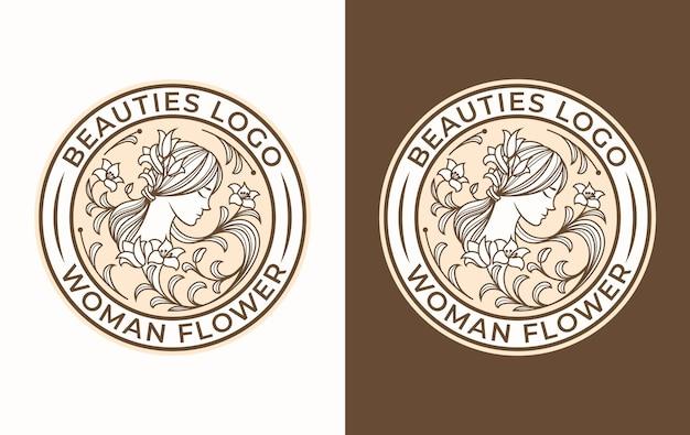 Création de logo de fleur de femme de beauté