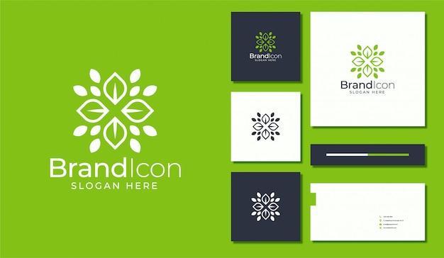 Création de logo de fleur de feuille. ensemble stationnaire