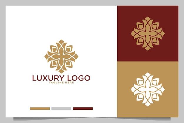 Création de logo de fleur de géométrie de luxe