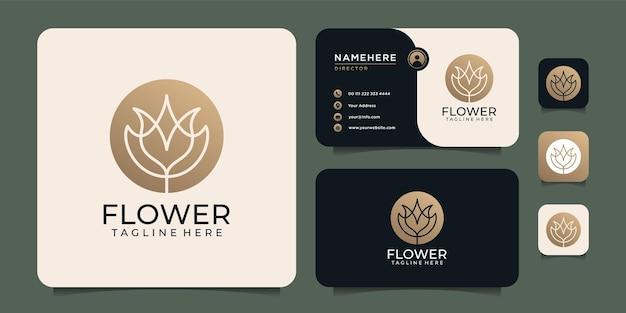 Création de logo de fleur d'hôtel de lotus d'élégance féminine avec carte de visite