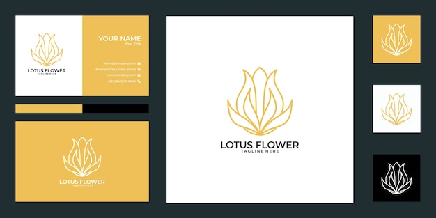 Création de logo de fleur de lotus et carte de visite. bon usage pour le yoga, spa, salon, logo de mode