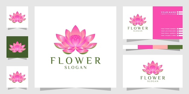 Création de logo de fleur de lotus avec dégradé de couleur et carte de visite