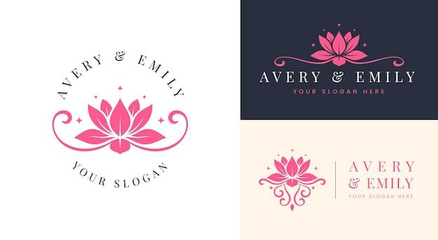 Création de logo de fleur de lotus rose spa beauté