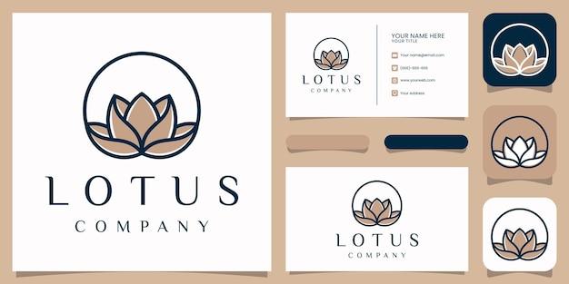 Création de logo de fleur de lotus spa rose avec modèle de carte de visite.