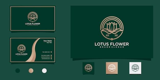 Création de logo de fleur de lotus avec un style d'art de ligne circulaire unique avec carte de visite vecteur premium