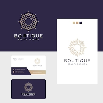Création de logo de fleur de luxe ornemental et carte de visite