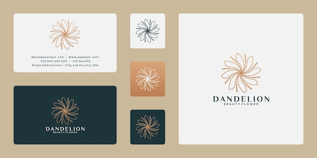 Création de logo de fleur de pissenlit de luxe pour votre spa, complexe hôtelier, magasin de plantes