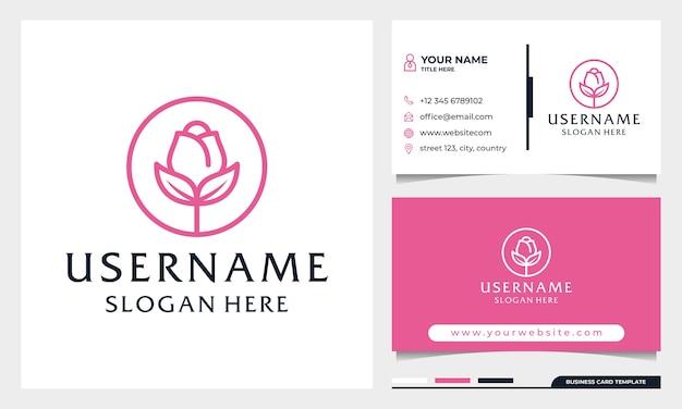 Création de logo de fleur rose cercle, logo de spa de beauté ou de cosmétiques avec modèle de carte de visite