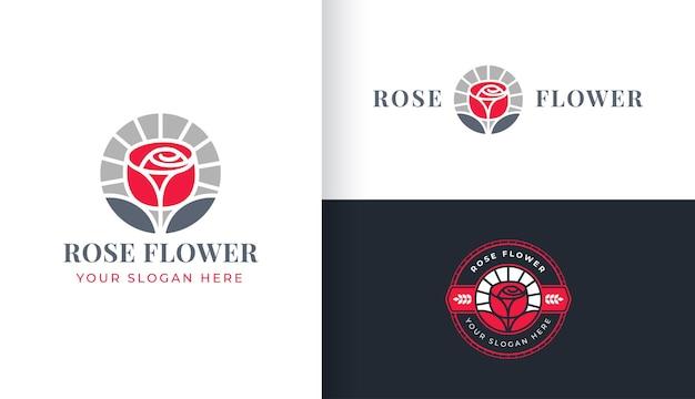 Création de logo de fleur de rose rouge
