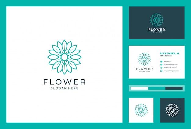 Création de logo de fleur avec style d'art en ligne. les logos peuvent être utilisés pour le spa, salon de beauté, décoration, boutique, bien-être, floraison, botanique et carte de visite
