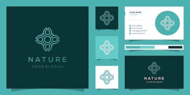 Création De Logo De Fleur Avec Style D'art En Ligne. Les Logos Peuvent être Utilisés Pour Le Spa, Le Salon De Beauté, La Décoration, La Boutique. Et Carte De Visite Vecteur Premium
