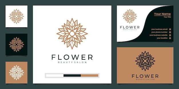 Création de logo de fleur avec style d'art en ligne. les logos peuvent être utilisés pour le spa, le salon de beauté, la décoration, la boutique.