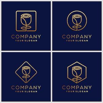 Création de logo de fleur avec le style d'art en ligne. les logos peuvent être utilisés pour spa, salon de beauté, décoration, boutique.