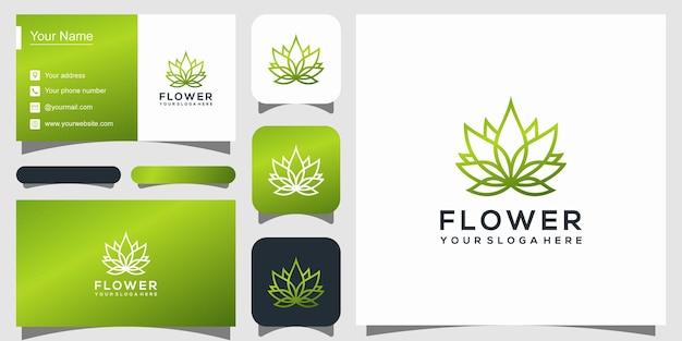 Création de logo de fleur avec style d'art en ligne