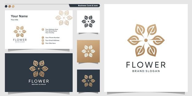 Création de logo de fleur avec un style moderne et un design de carte de visite vecteur premium