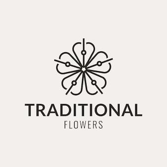 Création de logo de fleur traditionnelle avec un style minimaliste