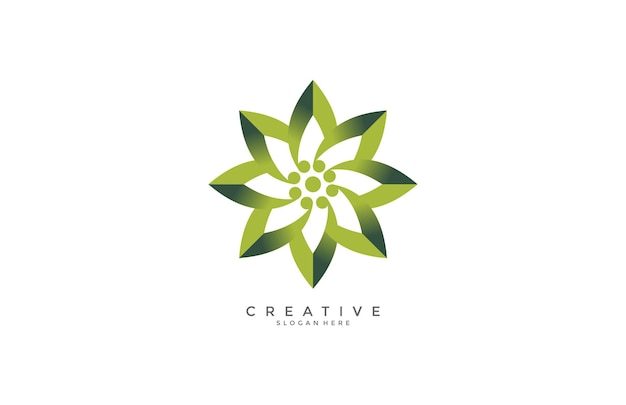 Création de logo de fleur verte greadint moderne