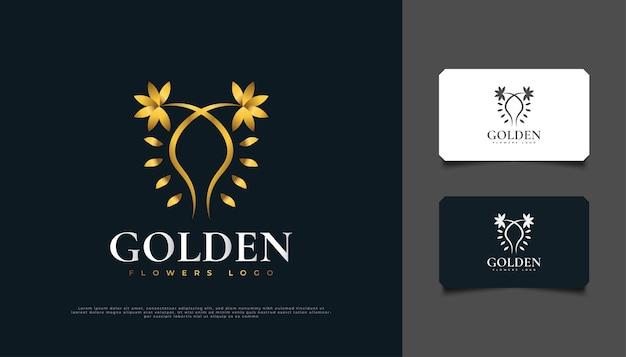 Création de logo de fleurs dorées de luxe avec style de ligne, adaptée pour le spa, la beauté, les fleuristes, le complexe ou les produits cosmétiques