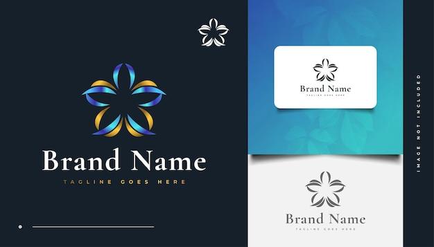 Création de logo floral de luxe bleu et or