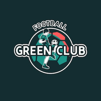 Création de logo football club vert avec joueur de football faisant jongler balle illustration vintage plat