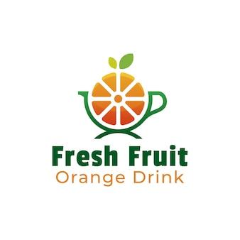Création de logo de fruits orange et de boisson saine