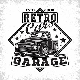 Création de logo de garage hot rod, emblème de l'organisation de réparation et de service de voiture de muscle, timbres d'impression de garage de voiture rétro, emblème de typographie de hot rod