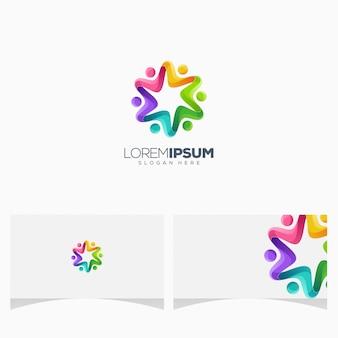Création de logo génial de personnes colorées imprimer