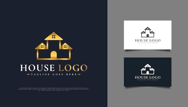 Création de logo golden house adapté à l'industrie immobilière.