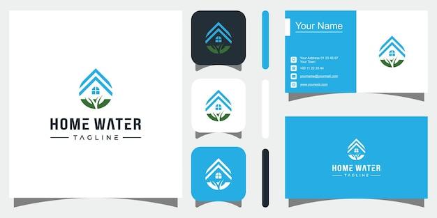 Création de logo de goutte d'eau maison logotype d'icône de vecteur de maison vecteur premium