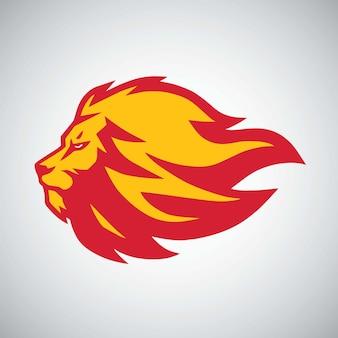 Création de logo gravure de feu de flamme de lion